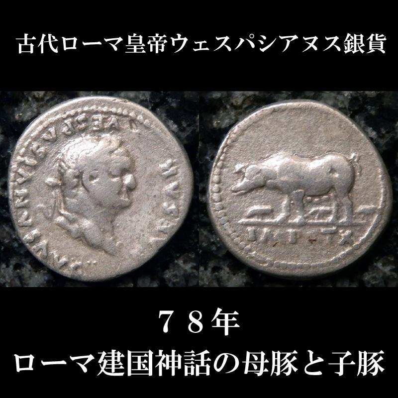 古代ローマコイン 帝政期 ウェスパシヌス デナリウス銀貨 78年 ローマ建国神話、母豚と子豚のコイン