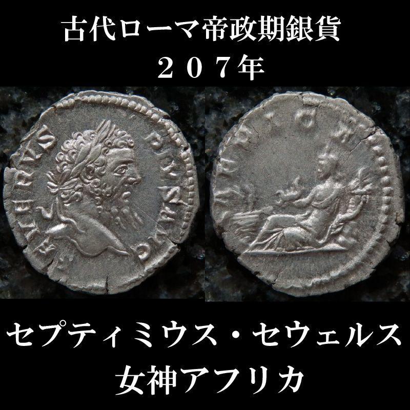 古代ローマコイン 帝政期 セプティミウス・セウェルス 207年 デナリウス銀貨 セプティミウス・セウェルス肖像 女神アフリカ
