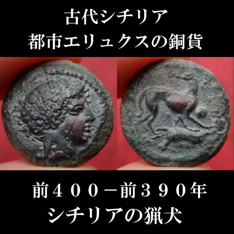 画像1: 古代ギリシャコイン シチリア島、都市エリュクス オンキア銅貨 前400-前390年 シチリア島の猟犬、チルネコ・デル・エトナのコイン (1)