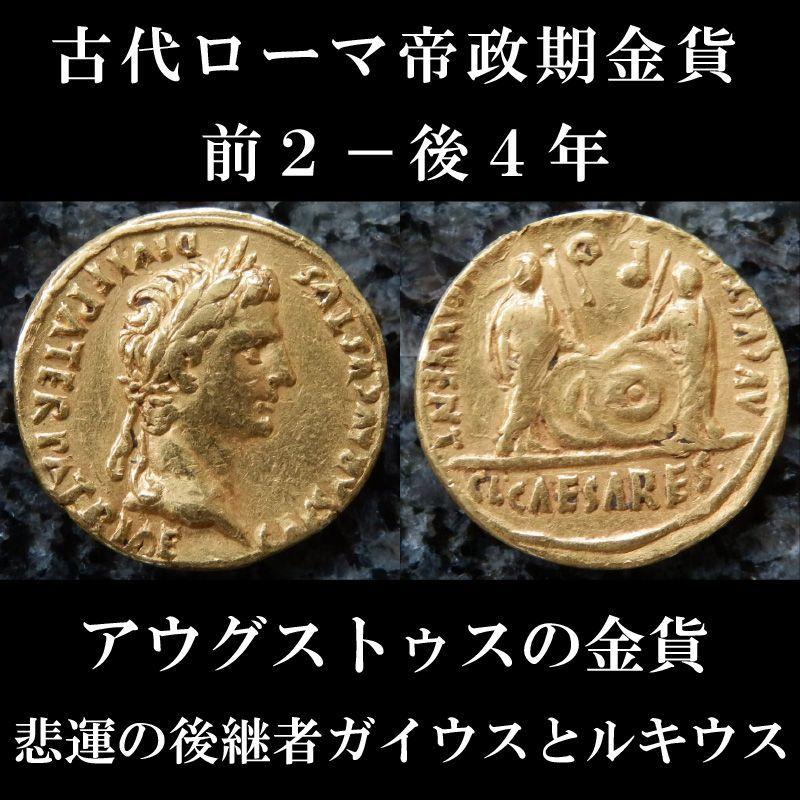 ローマコイン 帝政期 アウグストゥス 前2-後4年 アウレウス金貨 アウグストゥス肖像 アウグストゥスの孫、ガイウスとルキウス 悲運の後継者ガイウスとルキウスが表されたアウグストゥスの金貨 西洋古代美術