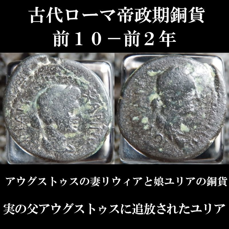 ローマコイン 帝政期 リウィアとユリア(アウグストゥスの妻と娘) 銅貨 ペルガモン発行 前10-前2年 リウィアとユリアの肖像 実の父アウグストゥスに追放された悲劇の女性ユリアのコイン