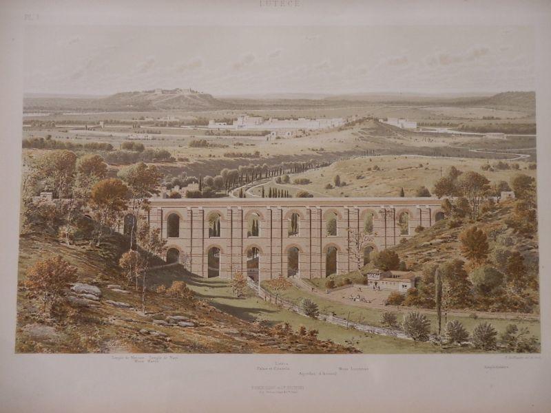 画像1: ルテキア再現図 古代パリ 版画 1880年頃 (1)