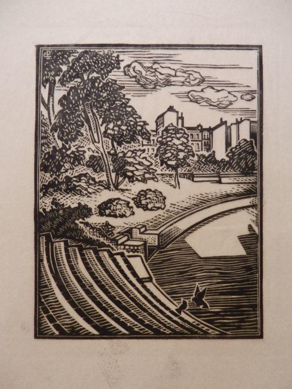 画像1: パリの古代円形劇場(ルテキア円形劇場) 版画  (1)