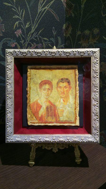 画像1: ポンペイの古代ローマ夫婦肖像画  レプリカ品 額付き (1)