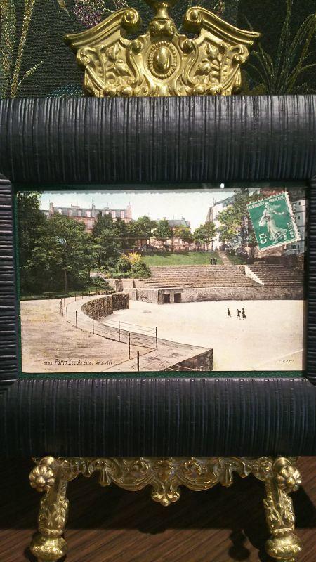 画像1: パリの古代円形劇場(ルテキア円形劇場) アンティークポストカード 額付き (1)