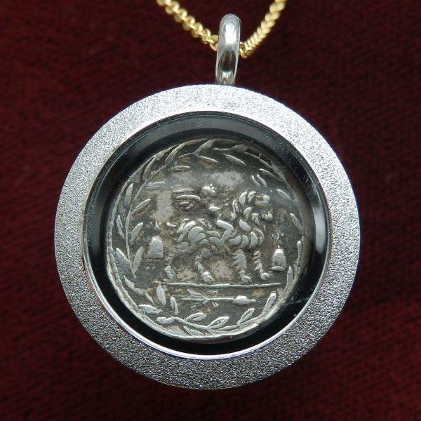 画像1: ☆コインが取り出せるペンダントヘッド☆ 古代ローマコイン 共和政期 マニウス・フォンテイウス 前85年 デナリウス銀貨 アポロンまたはウェイヨウィス肖像 ヤギとクピド (1)