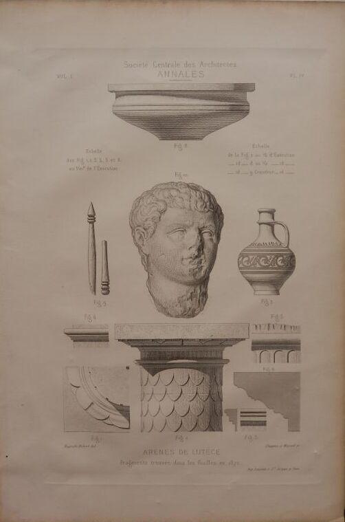 画像1: パリの古代円形劇場 ルテキア円形劇場の発掘品の版画 1875年  (1)