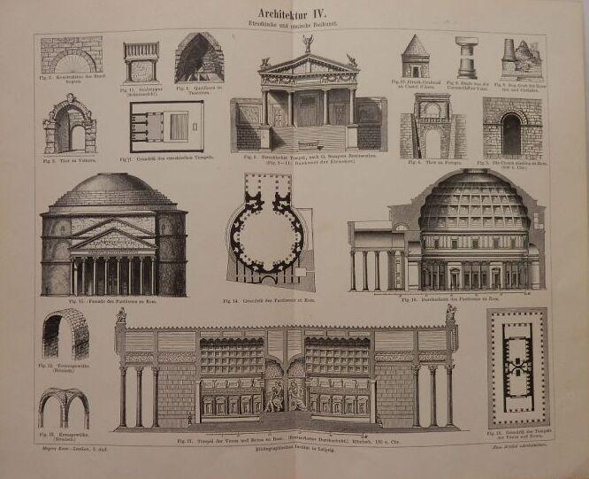 画像1: 古代ローマ建築物 版画 1890年頃 ローマのパンテオンやウェヌス神殿の詳細図 (1)