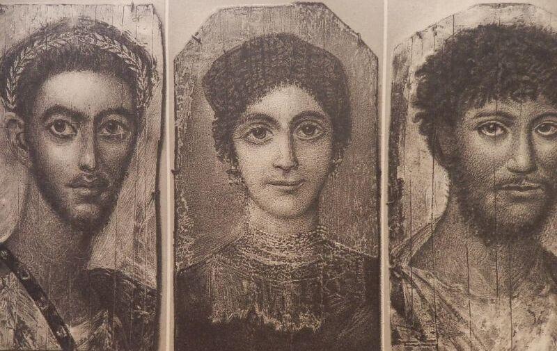 画像1: ファイユームのミイラ肖像 版画 1890年頃 (1)