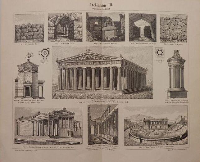 画像1: 古代ギリシャ建築物 版画 1890年頃 アテネのパンテオンやセジェスタの劇場の詳細図 (1)