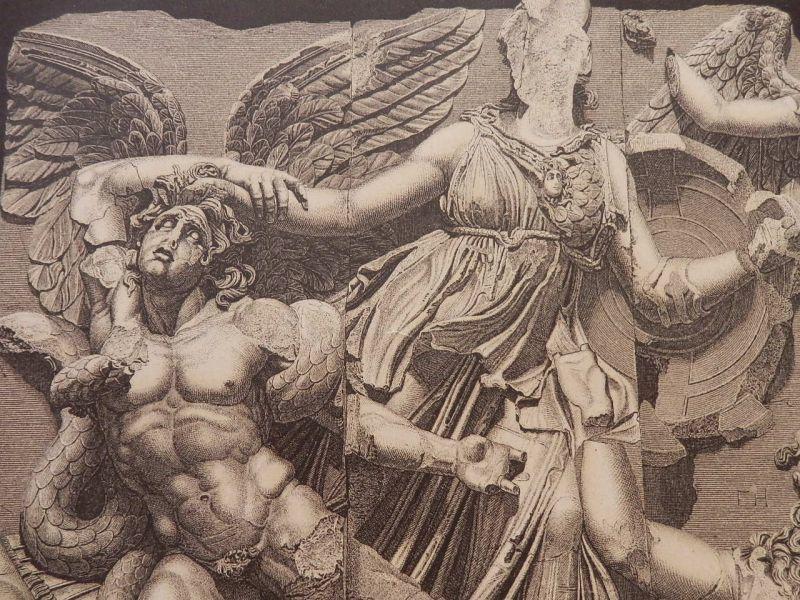 画像1: ペルガモンの祭壇 巨人族を倒すアテナとニケ 版画 1890年頃 (1)