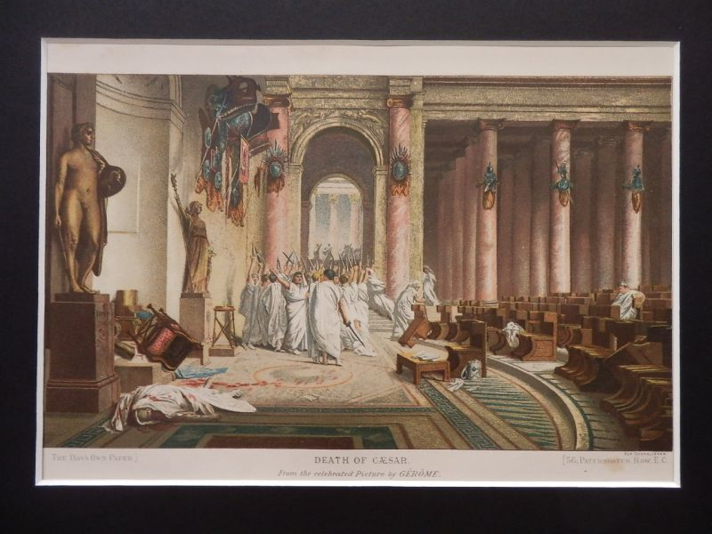 画像1: カエサルの死 版画 レオン・ジェローム 1880年頃 (1)