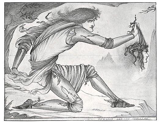 ペルセウスとメドゥーサ 版画 オーブリ―・ビアズリー 1900年