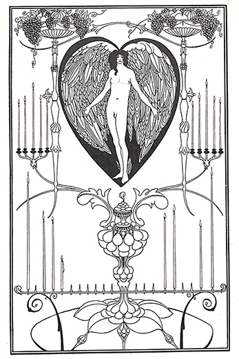 愛の鏡 エロス ギリシャ神話 オーブリー・ビアズリー 版画 1900年