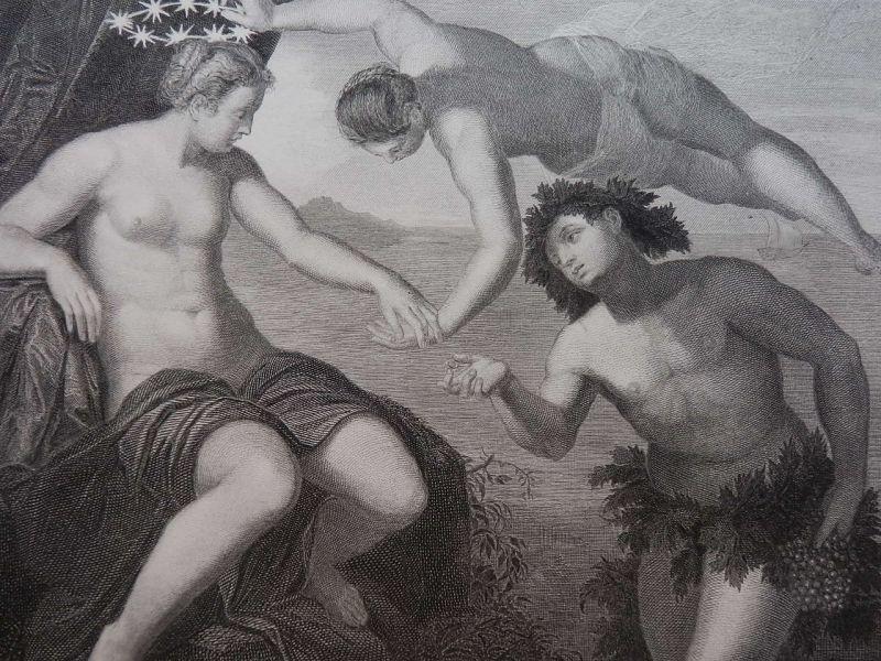 バッカスとアリアドネとウェヌス ギリシャ神話 版画 1870年頃