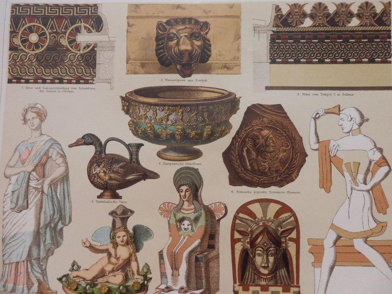 古代ギリシャ・ローマのテラコッタ 版画 1890年頃
