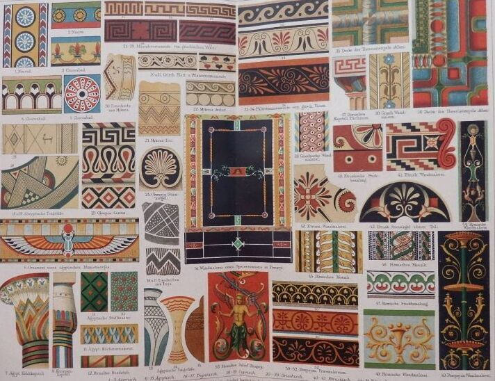 古代ギリシャ、ローマなどの装飾文様 版画 1890年頃